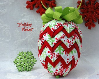 "No Sew Quilted Fabric Pinecone Ornament - ""Holiday Flakes"""