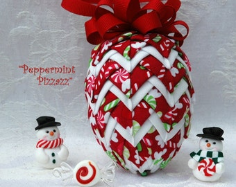 """Quilted Fabric Pinecone Shape Ornament Kit and Pattern - """"Peppermint Pizzazz"""""""