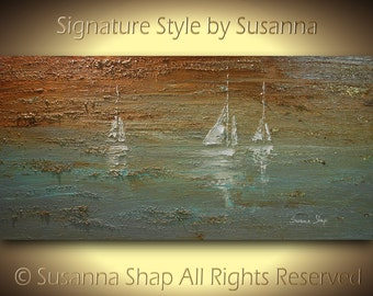 ORIGINAL Contemporary White Sail Boats Art Seascape Painting Textured Modern Brown Blue Oil Painting by Susanna Ready to Hang 48x24