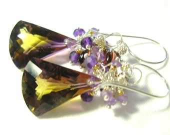 Yellow and Purple Amethyst Faceted Trillion Cut Briolette and Sterling Silver Earrings