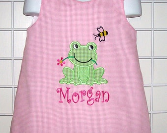 Frog and Bumble Bee Applique Monogram Pink Gingham A-line Dress