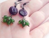 NEW Purple and Green, Amethyst and Green Jade Stone Cluster Earrings