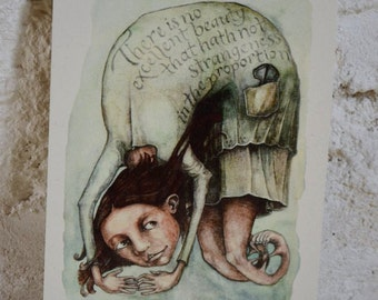 "Leg Wheel & Jew Harp - 7"" x 5"" print on cream card"