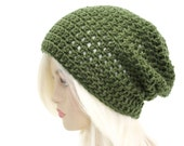 Green Slouchy Beanie Mens Hat Slouch Beanie Womens Crochet Beanie Slacker