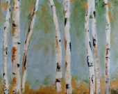 BIRCH TREES STUDY - Oil Painting - Original - Honeyscolors - Landscape - 12 x 12 - Artwork - Art - Wall Hanging - White Trees - Birch Tree