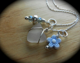 Sea Glass Jewelry - Sea Glass Cluster Necklace - WILD FLOWER