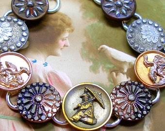 French Oriental BUTTON bracelet, Art Nouveau CRANE & stars, Antique button jewellery, jewellery.