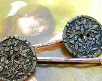 Antique BUTTON hair pins, 1800's Victorian FLOWERS on silver bobby pins, hair grips.