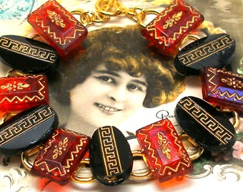 "1800s BUTTON  bracelet, Victorian glass with gold in red & black. 7.5"" bracelet. Antique button jewellery."