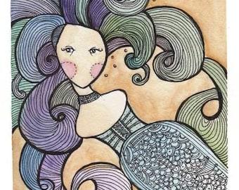 Blue Mermaid Speechless Girl - 11 x 17 Print