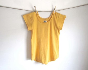 Organic Cotton Scoop Hem Tee Shirt, Sunshine Yellow, Cap Sleeve, Tunic Top, Womens Blouse, Organic Clothing,