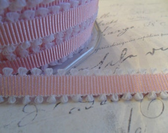 Pink and White Picot edge  3/8 Grosgrain Ribbon