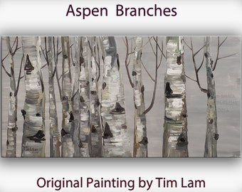 Original Large modern impasto textured art abstract 48 x 24 canvas Autumn landscape painting Ready to Hangby tim lam