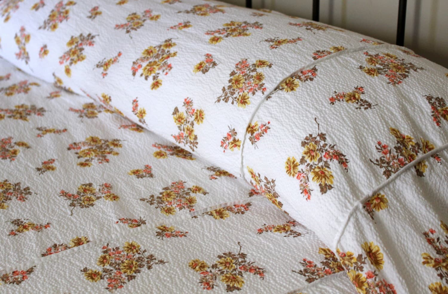 Vintage Cotton Plisse Bedspread Yellow Flowers By