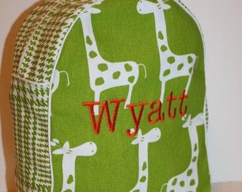 Custom Made Green and White Giraffe Backpack for a preschooler