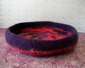 Cosmic Orange Swirls  Felted Whatnot/Ring Bowl/Tray