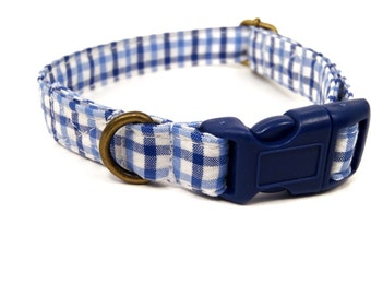 Cape Cod - Organic Cotton CAT Collar Breakaway Safety Blue Plaid - All Antique Brass Hardware