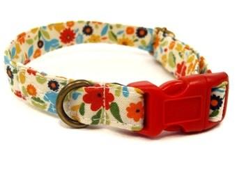 Palm Beach - Organic Cotton CAT Collar Breakaway Safety Flowers - All Antique Brass Hardware