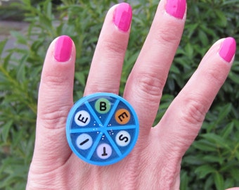 BESTIE  - upcycled Trivial Pursuit ring - blue