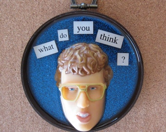 Napoleon Dynamite - upcycled doll wall plaque assemblage