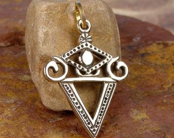 LA SIRENE VEVE - Solid Cast Voodoo Veve Lwa Vodou Charm Pendant in Bronze