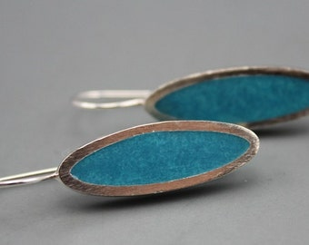 Aqua Oval Drops Sterling silver and resin earrings