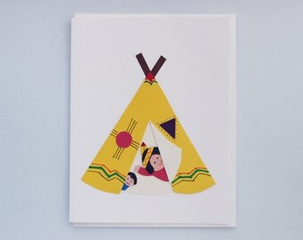 Just saying hi tipi - print card by Emily Lin