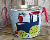 FREE SHIPPING!!!!!! Easter Bucket, Personalized, Hand-Painted, Tin, Pail, Easter Pail, Train, Choo Choo, Boy, Boy Easter Basket