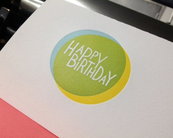 Blue and Yellow Make Green! / Knockout Letterpress Birthday Card