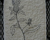 Blank Fabric art journal. Thistle botanical quilted cover.