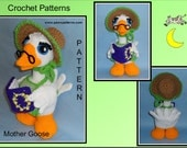Mother Goose Crochet Pattern, crochet goose, crochet bird, crochet nursery