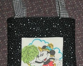 child's tote or library bag,  black w/ mickey mouse patchwork, fully lined, quilted,  9 by 10, REDUCED PRICE