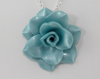 Light Turquoise Rose Pendant - Simple Rose Necklace - Turquoise Rose Necklace  - Handmade Wedding Jewelry - Polymer Clay Rose Pendant - #349