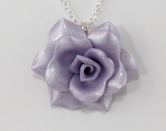 Pastel Purple Rose Pendant - Simple Rose Necklace - Pastel Purple Rose Necklace - Wedding Jewelry - Polymer Clay Rose - Handmade - #272