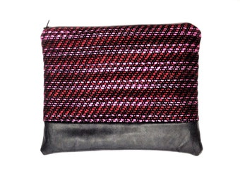 Textured wool/pleather clutch/pouch