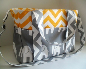 Extra Large Chevron Diaper bag Made of Yellow and White Chevron with Gray Elephant Fabric / Elephant Diaper Bag - Diaper Bag - Chevron Bag