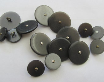 14 vintage semi-gloss shank buttons in silver/gray