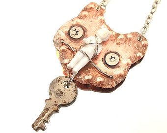 New Sheriff in Town Frozen Charlotte Necklace Soldered Copper Wired Disc Pendant One-of-a-Kind