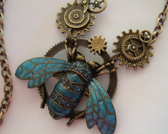 Original Steampunk Industrial Necklace, Unique Geared Jeweled Bug Pendant, Metal Bonded Together NOT Glued, Handmade, Royal Blue Rhinestones