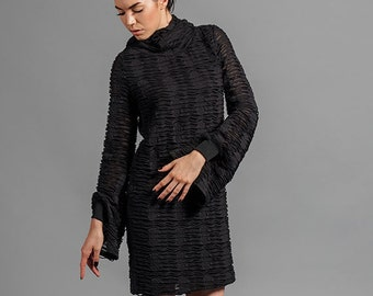 Black Neo Goth Long Sleeve Mini Dress Hooded Unique Cuffs