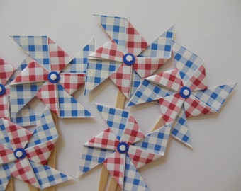Pinwheel Cupcake Toppers - Royal Blue and Red Gingham - Birthday Party Decorations