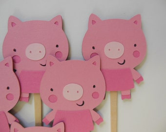 Pig Cupcake Toppers - Pink - Child Birthday Party Decorations - Baby Showers - Farm Animals - Set of 6