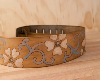 Guitar Strap - Leather with Flowers in the Lynn Pattern - Handmade Electric or Acoustic Guitar Strap - Blue, White and antique brown