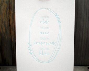 "Wedding Art Print, Wedding Gift, Wedding Art, Wedding Keepsake, Wedding Quote (5"" x 7"") Something Blue Print, Something Borrowed, Wedding"