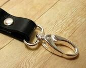 Black Leather Key Ring, Clip On Keyring, Black Leather Keychain, Black Key Chain, Leather Key Fob, Purse Accessory, Leather Key Holder