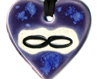 Infinity Ceramic Necklace in Purple and Blue