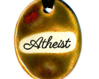 Atheist Ceramic Necklace in Spotted Brown