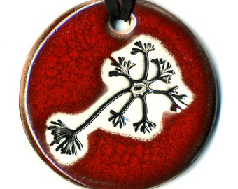 Multipolar Neuron Ceramic Necklace In Deep Red
