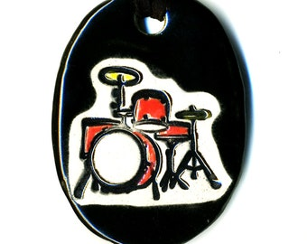 Drum Set Ceramic Necklace in Red and Black