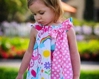 Girls Rainbow Dress-Girls Dress-Girls Unicorn Dress- Girls Rainbow Unicorn Dress- Girls Summer Dress- Rainbow Dress- Unicorn Dress